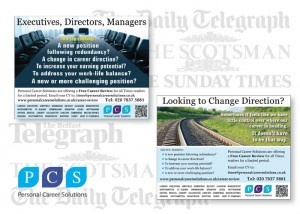 Regular advertising in the quality national and regional newspapers